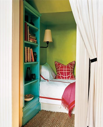 Aqua and Apple Green Bedroom Nook