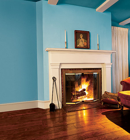 A Turquoise Greek Revival Drawing Room
