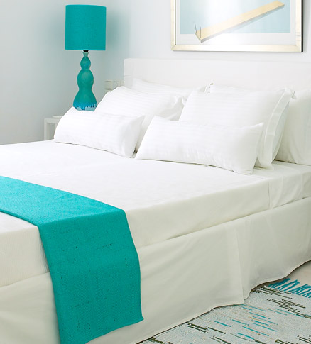 Lovely Turquoise and White Hotel Room