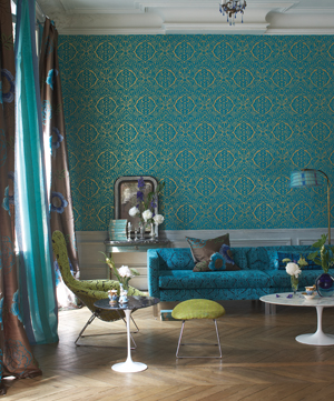 Sumptuous Turquoise Wallpaper