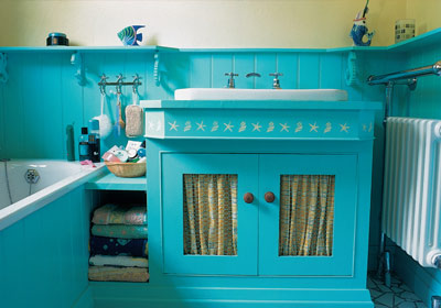 Bold Turquoise and Yellow Bathroom