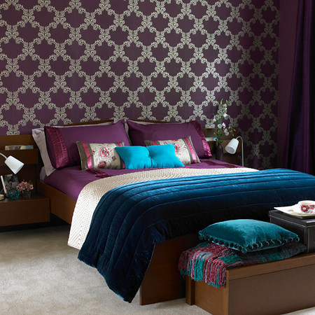 Aubergine and Teal Bedroom