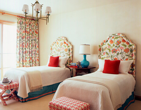 Red and Turquoise Guest Rooms