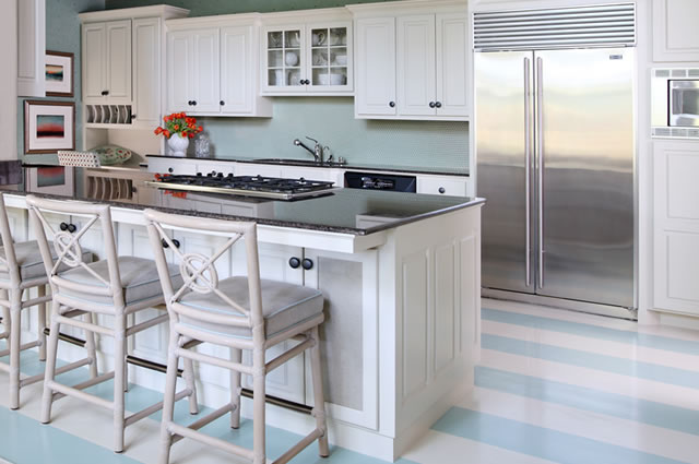 Turquoise Striped Floor