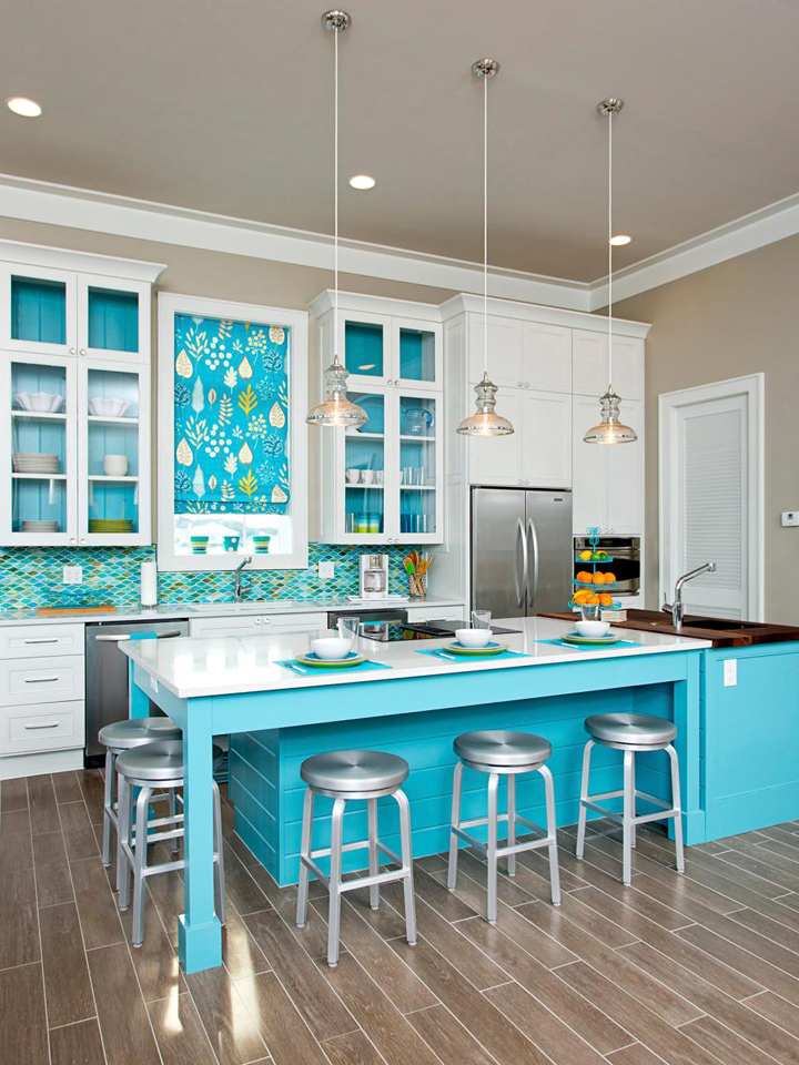 turquoise coastal kitchen