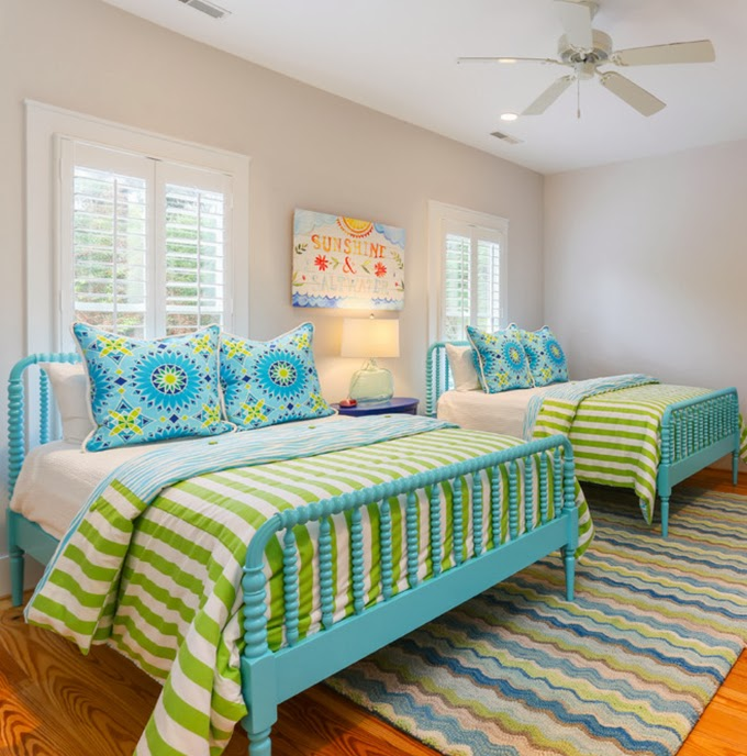 Green and Turquoise Bedroom