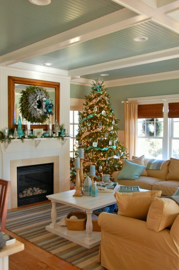shimmery sea inspired christmas decorations are a perfect fit for this coastal mattapoisett massachusetts home belonging to interior decorator greta fox