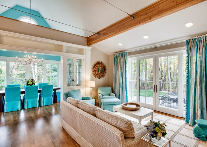 Beau Iu0027m Loving The Bold Approach To This Camden, Maine Home By Phi Home Designs!  The Trail Of Turquoise Woven Through The Home, Starting With The ...