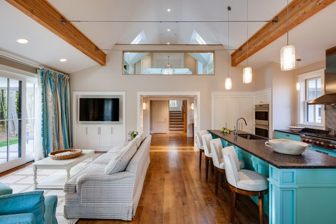 Superbe Iu0027m Loving The Bold Approach To This Camden, Maine Home By Phi Home Designs!  The Trail Of Turquoise Woven Through The Home, Starting With The ...