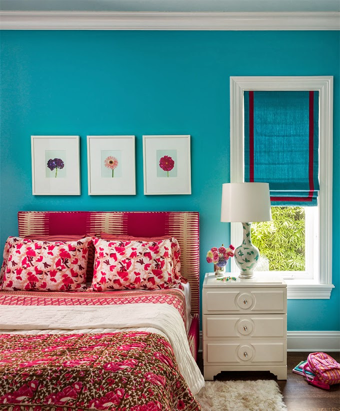 Andrew howard interior design - Turquoise and pink bedroom ...