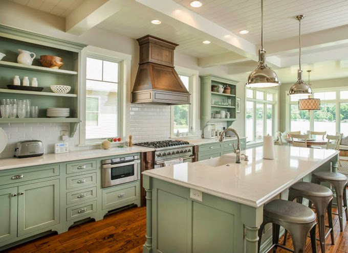 Shrock premier custom construction house of turquoise for Grey green kitchen cabinets
