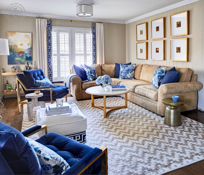 Guest blogger traci of traci zeller designs house of turquoise for Navy blue white and gold living room