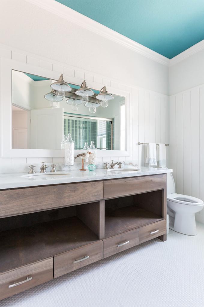 Laura u interior design house of turquoise for Beach house master bathroom