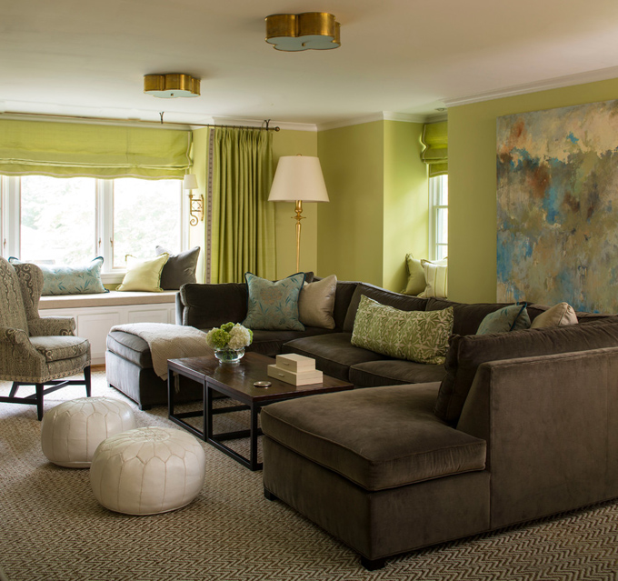 Katie destefano design house of turquoise for Green and beige living room ideas