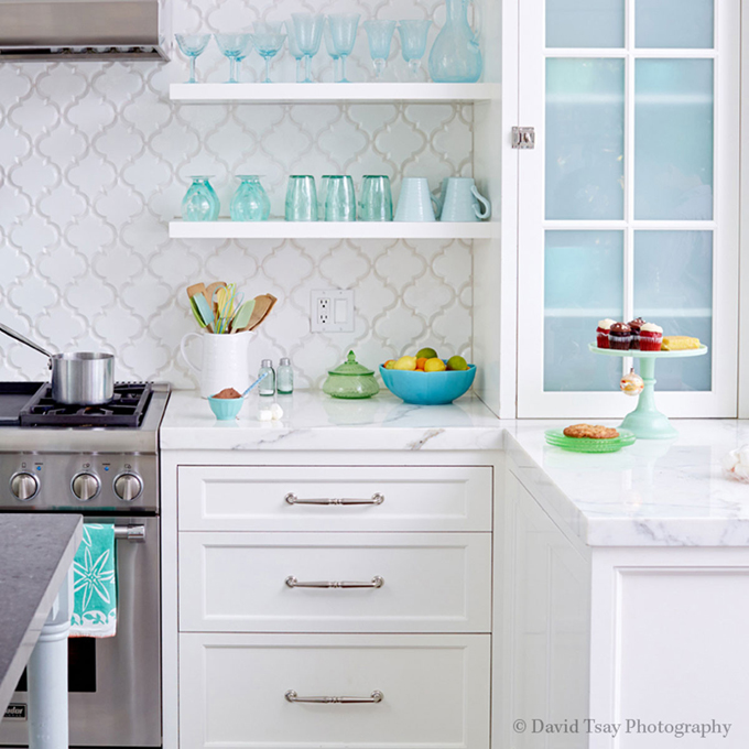 Captivating ... White Kitchen Aqua Accents