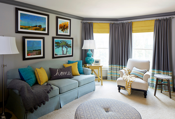 Meriwether Design Group House Of Turquoise: gray blue yellow living room