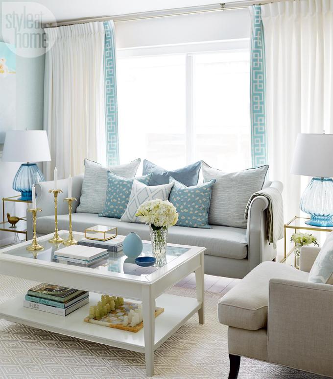 inspiring gray turquoise brown living room | Olivia Lauren Interior Design | House of Turquoise