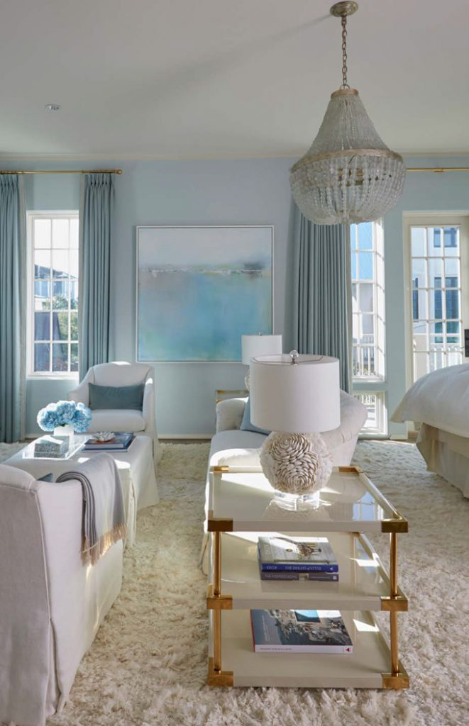 Transitional Living Room With Coastal Vibe And Blue: Melanie Turner Interiors