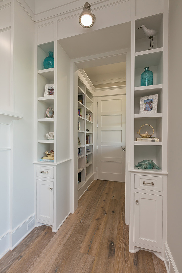built-in shelves hallway