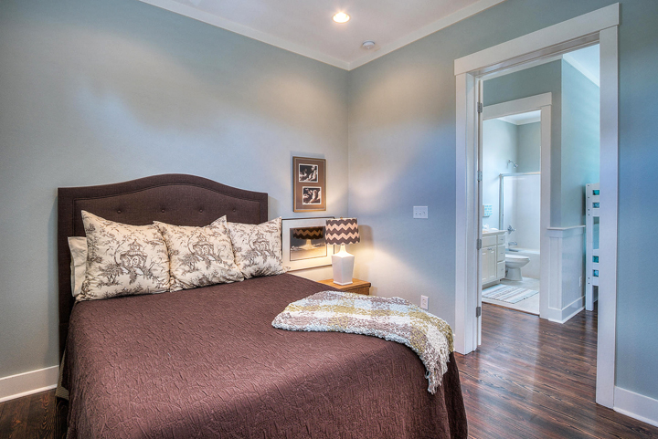 blue brown bedroom