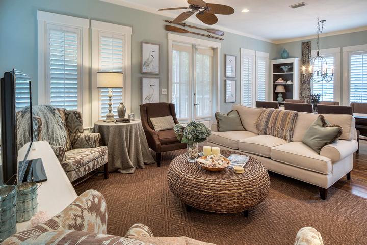 blue brown living room