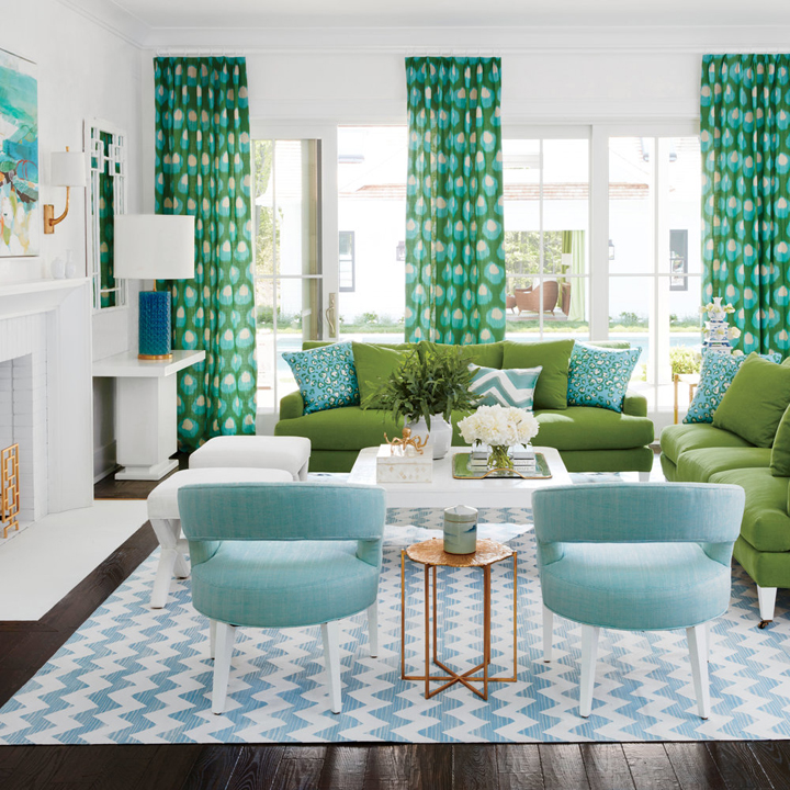 2016 coastal living magazine hamptons showhouse house of turquoise for Green and blue living room decor