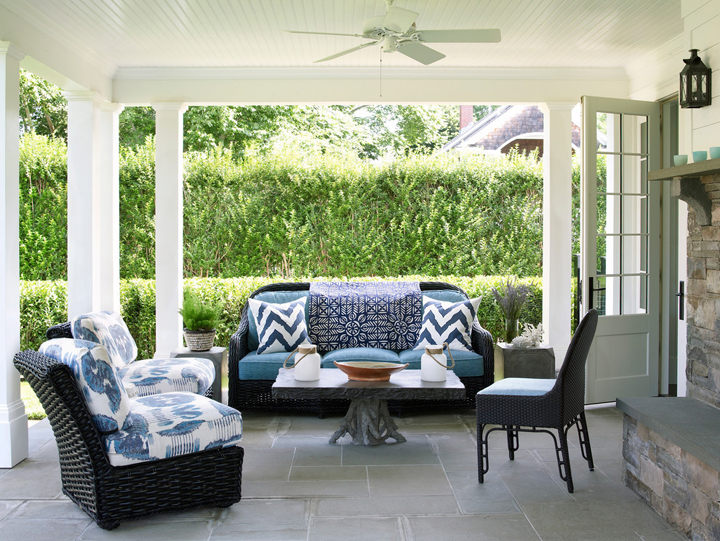 blue white patio