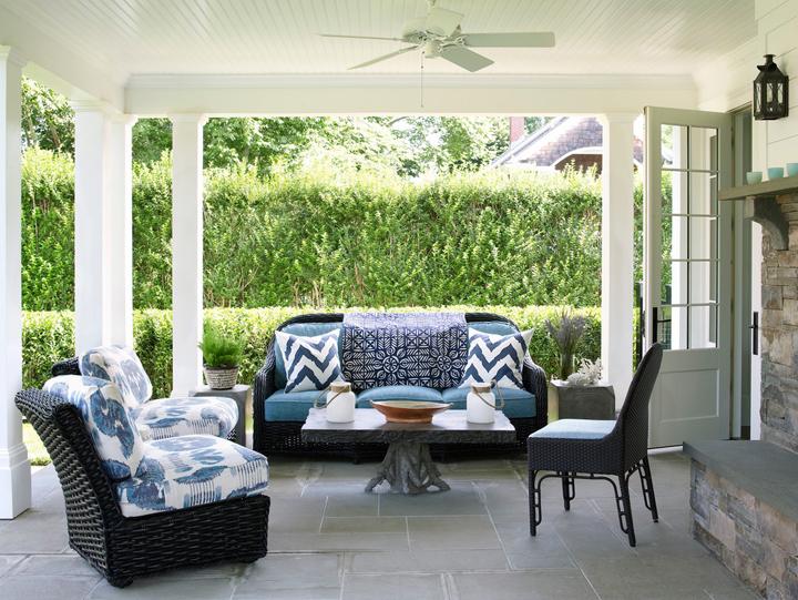 blue white patio