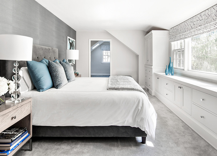 gray silver bedroom