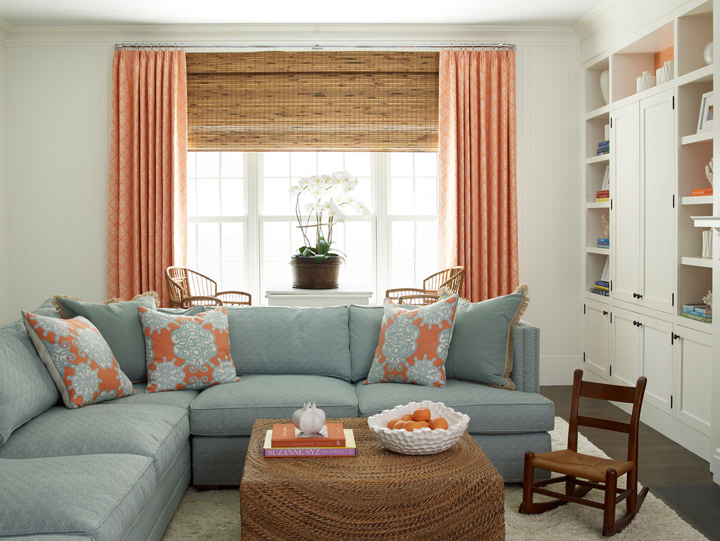orange blue family room