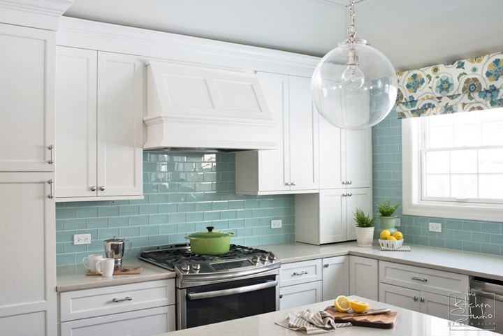 surprising turquoise subway tile backsplash kitchen | Two Hands Interiors | House of Turquoise