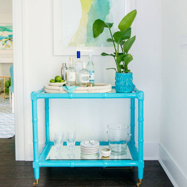 turquoise bar cart