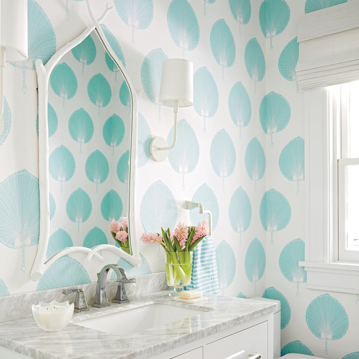 2016 coastal living magazine hamptons showhouse house of for Turquoise wallpaper for bedroom