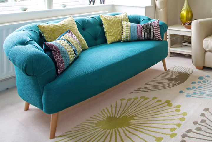 Kate lovejoy design and interiors house of turquoise - Sofa azul turquesa ...