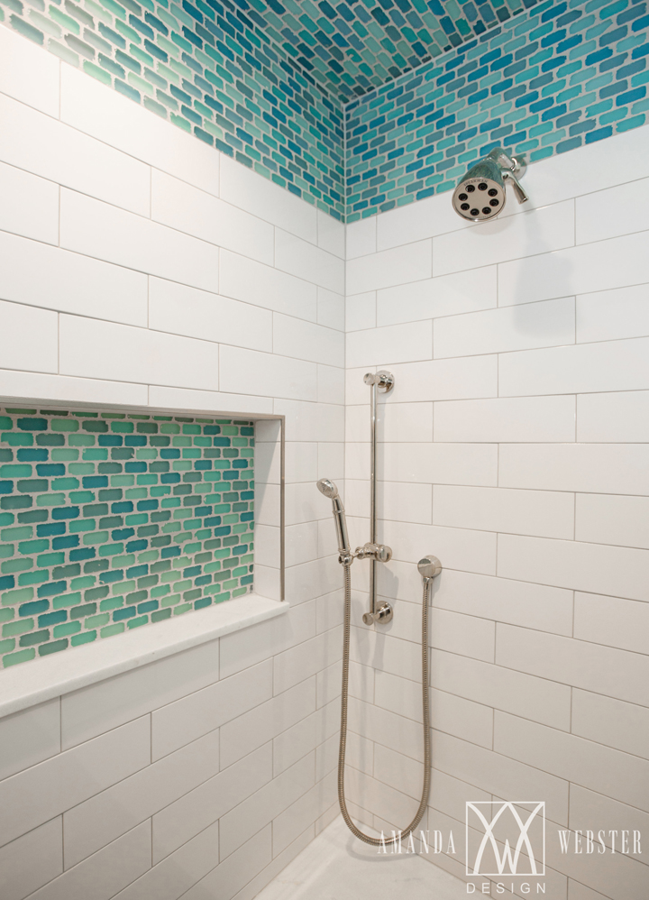 turquoise white shower