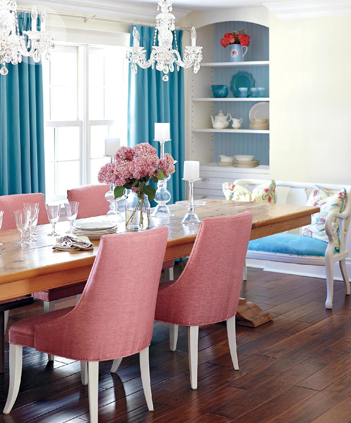 pink blue dining room