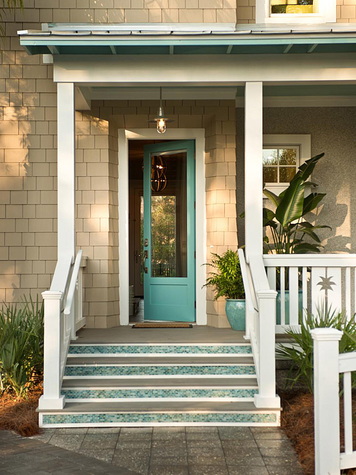 Turquoise and blue front doors with paint colors Front door color ideas for beige house