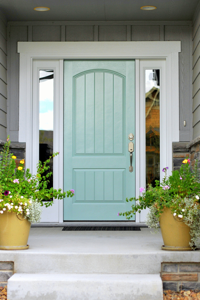 Turquoise and blue front doors with paint colors for Front door yellow paint