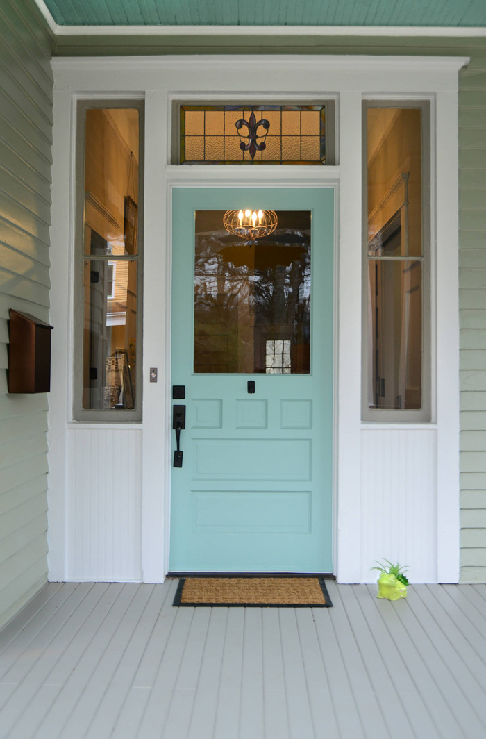 Turquoise and blue front doors with paint colors for Door design and colour