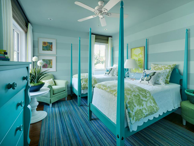 Cute turquoise beds