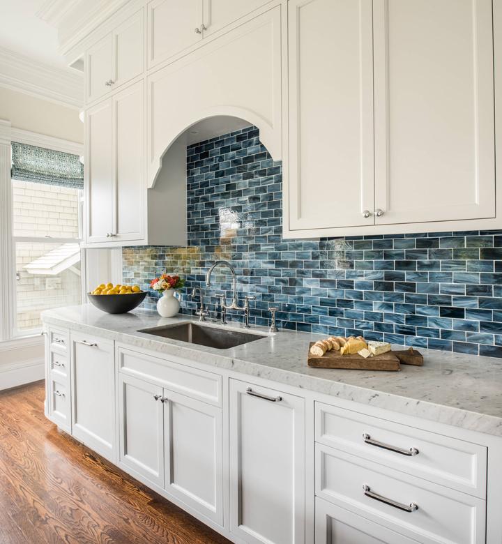 Welcoming Intimate Showhouse Kitchen: Turquoise Backsplash Ideas