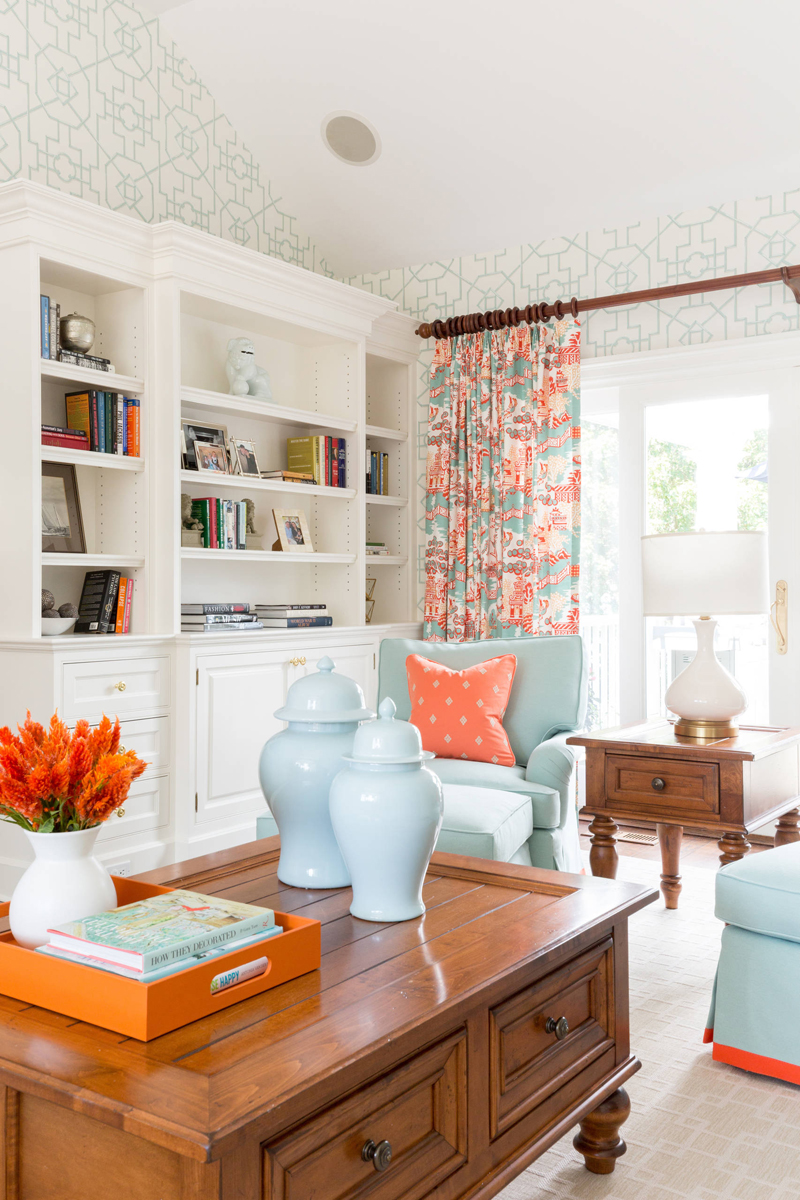 ... coral color palette of this beautiful living room designed by Katharine  Kelly Rhudy of New Canaan, Connecticut-based Reed & Acanthus Interior Design .