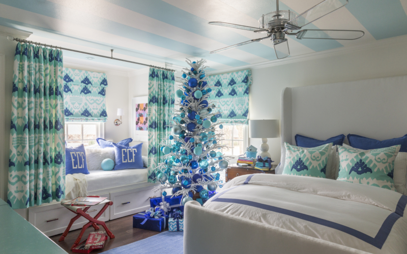 blue and green bedroom. Tobi Fairley House of Turquoise  and teal robins egg blue aqua sky