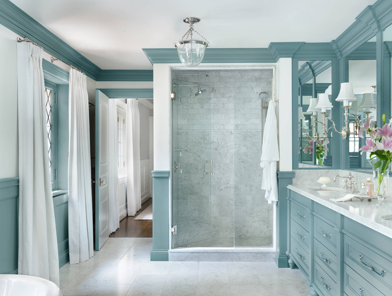astounding light blue bathroom ideas | Amy Studebaker Design | House of Turquoise