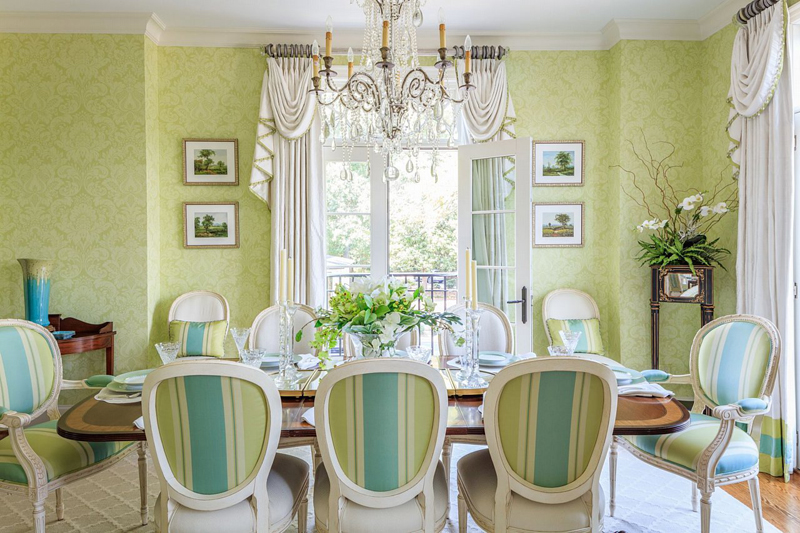 turquoise and green dining room